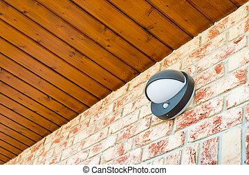 pared, luz, moderno, movimiento, lámpara, ladrillo, sensor