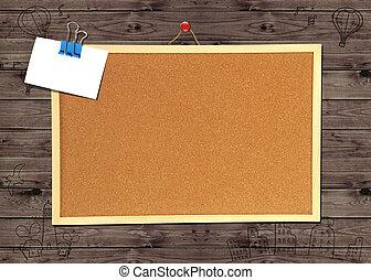 pared, madera, tablón de anuncios, corcho