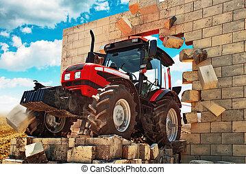 pared, marca, el romperse a través, nuevo, tractor