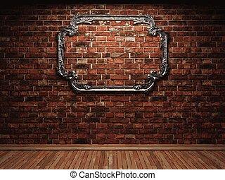 pared, marco,  vector, ladrillo