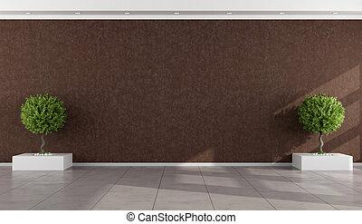 pared, marrón, habitación, vacío, estuco