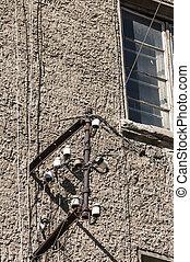 pared, metal, marco, insulators