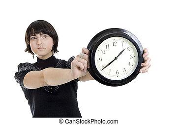 pared, mujer, cacasian, tenencia, reloj