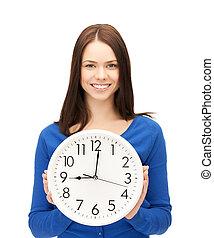 pared, mujer de negocios, reloj