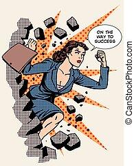 pared, mujer de negocios, se estropea, éxito, empresa / ...