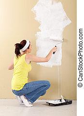 pared, mujer, pintura, joven