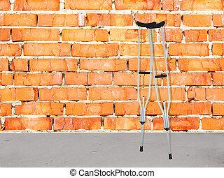 pared, muletas, ladrillo