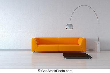 pared, naranja, acogedor, sofá
