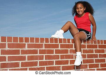 pared, niña, niño, sentarse