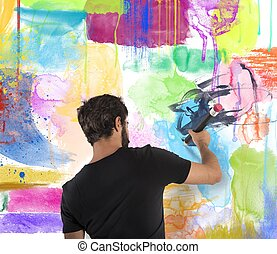 pared, niño, colores