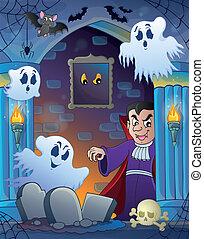 pared, nicho, 3, halloween, tema