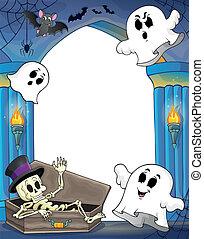 pared, nicho, tema, 2, halloween