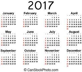pared, nuevo, grande, 2017, calendario