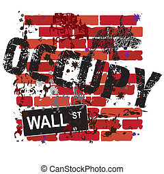 pared, ocupar, muestra de la calle