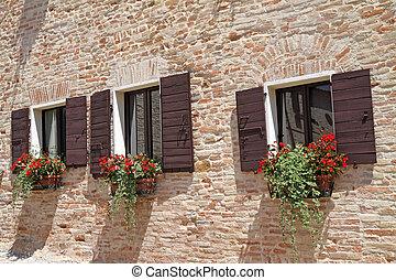 pared, ollas, windows, ladrillo, flores, obturadores