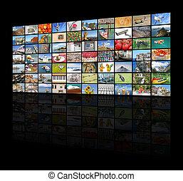 pared, pantalla grande, vídeo, televisión