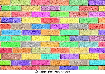 pared, patrón, ladrillo, colorido, plano de fondo