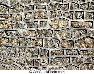 pared, piedra, cemento, reforzado