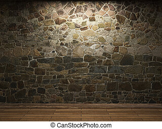 pared, piedra, iluminado
