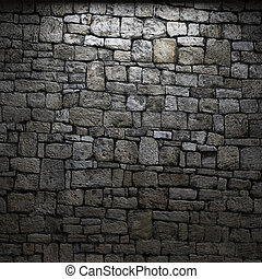 pared, piedra, iluminado