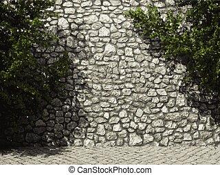 pared, piedra, vector, iluminado, hiedra