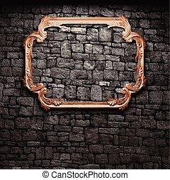 pared, piedra, vector, iluminado, marco