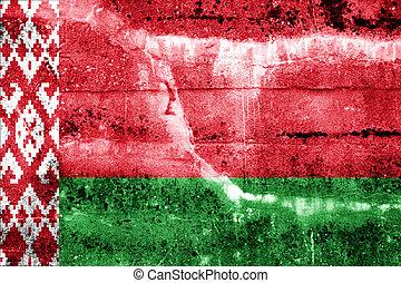 pared pintada, bandera, belarus, grunge