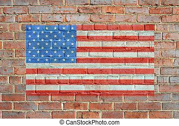 pared pintada, bandera, ladrillo, norteamericano