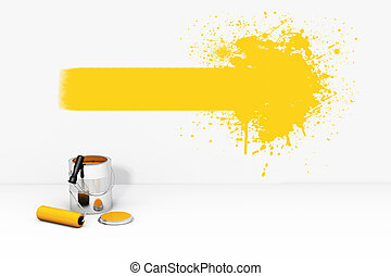 pared, pintar el chapoteo, lata, naranja, rodillo, cepillo