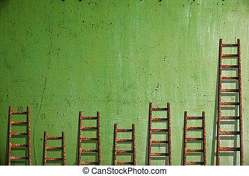 pared, pintura, dañado, viejo, rojo