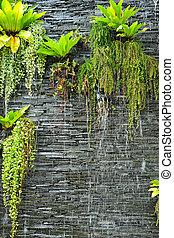 pared, plantas, piedra, cascada, verde
