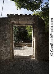 pared, puerta, drystone, portal, exterior