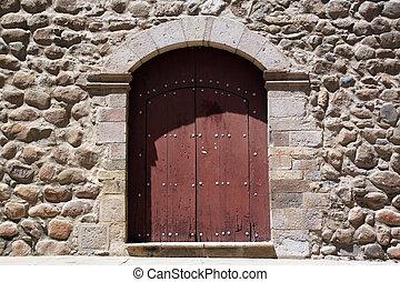 pared, puerta