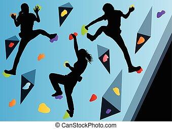 pared, resumen, trepador, s, el subir de la roca, deporte, atletas, niños