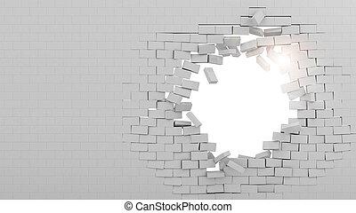 pared, roto, por