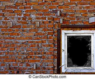 pared, roto, ventana