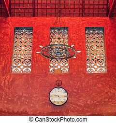 pared, sculture, rojo, textura, reloj