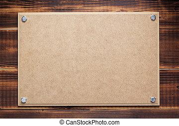 pared, señal, de madera, o, letrero nombre, plano de fondo