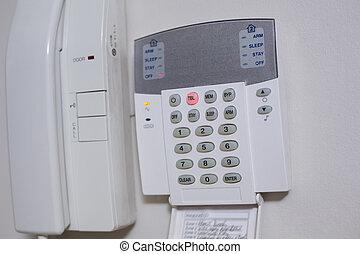 pared, sistema, teléfono, entrada, blanco, montado