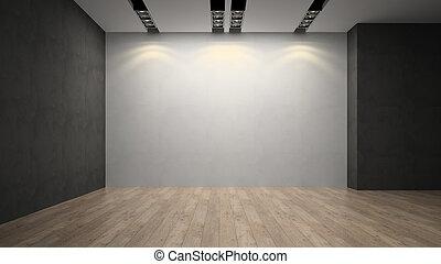 pared, sitio blanco, vacío, whith