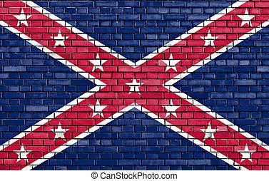 pared, socialista, confederación, américa, bandera, ladrillo...