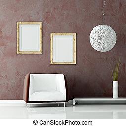 pared, sofá, moderno, araña de luces, estuco, antes
