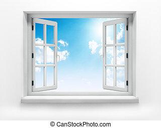 pared, sol, cielo, nublado, ventana, contra, blanco, abierto