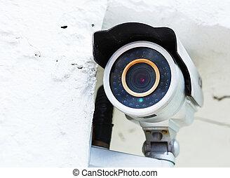 pared subida, cámara, vigilancia