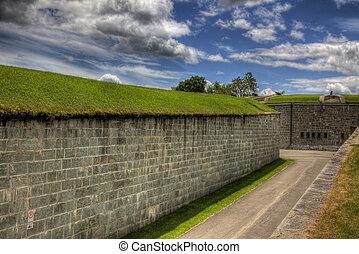 pared, túnel, ladrillo