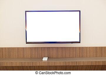 pared, televisión, montado