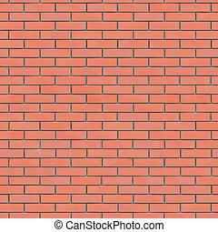 pared, textura, seamlessly, tileable., ladrillo, rojo