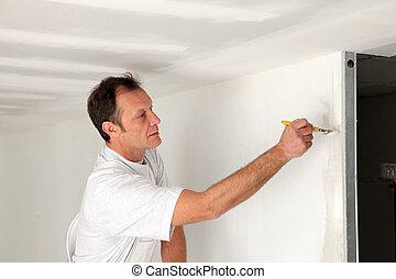 pared, toques, pintura, final, hombre