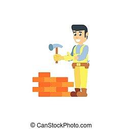 pared, trabajador, herramienta, construcción, martillo
