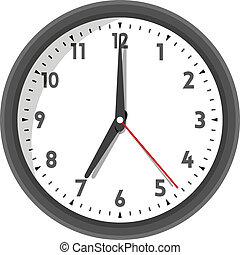pared, vector, ilustración, reloj de la oficina
